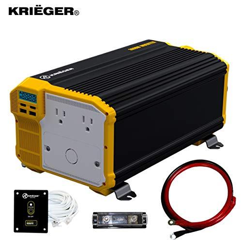 Krieger 3000 Watts Power Inverter 12V to 110V, Modified Sine Wave Car Inverter, Dual 110...