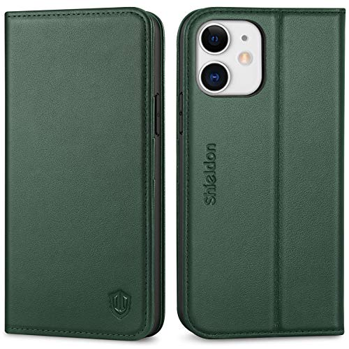 SHIELDON Case for iPhone 12/12 Pro 5G, Genuine Leather Folio Wallet Case with Kickstand RFID Blocking Card Slots Magnetic Shockproof Cover Compatible with iPhone 12/12 Pro (6.1 Inch) - Midnight Green
