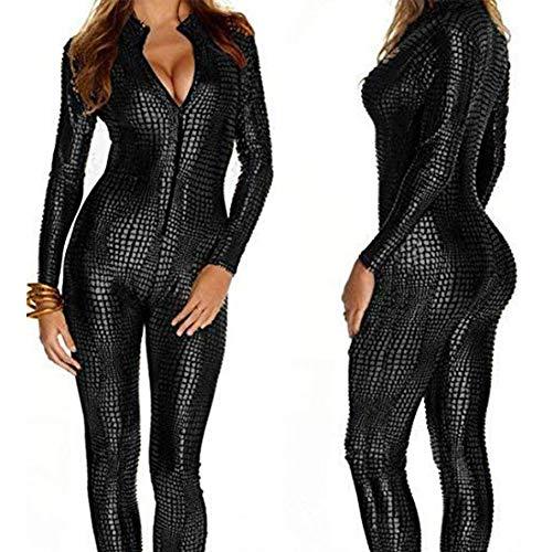 YARUMD Latex Catsuit Colourful House Womens Kostüm Schlangenleder Print Reißverschluss Leder Engen Overall Catsuit Halloween,Black,L
