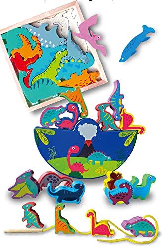 [island-banana] モンテッソーリ 木のおもちゃ 恐竜 おもちゃ バランスゲーム ひもとおし 紐とおし 恐竜パズル パズル ゲーム 木製 遊び方たくさん プレゼント ギフトにも 知育玩具
