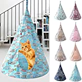 Foldable Pet Hanging Tents Soft Cat Hammock Nest for Indoor Cats Window Cage Sleeping Beds Detachable Conical Linen Brethable Soft House Pet Supplies Play Washable