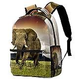 Backpack Prado de Elefantes Mochila De Viaje De Ocio Juvenil Mochila Escolar para Niños Y Niñas 29.4x20x40cm