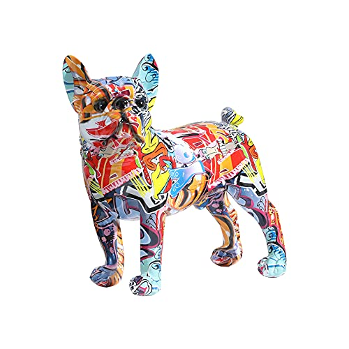 Resin Colorful French Bulldog Statue Decor Figurines for Home Decor, Living Room Bedroom Office Decoration,Stand Artwork Decor Sculpture,Memorial Gift,Size:12.40 x 5.31 x 11.02 inches