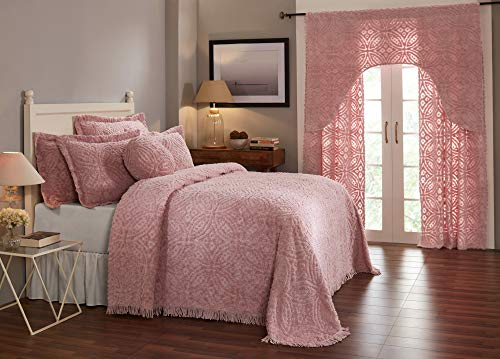 Better Trends Double Wedding Ring Collection 100% Cotton Tufted Chenille, Queen Bedspread, Pink