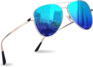 Polarized Aviator Sunglasses for Men Women, UV 400 Mirrored Lens, Military Style
