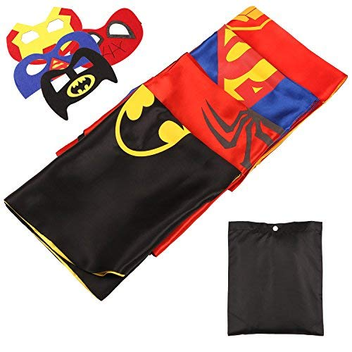 MVPower- Costumi da Supereroi per Bambini, Inclusi 4 Set di Mantelle e Maschere di Superman/Spiderman/Batman/Ironman per Festa, Compleanno, Halloween, Carnevale