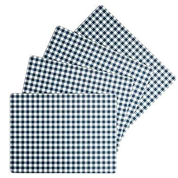 Benson Mills Cork Placemats  Calvin Gingham Check Placemat Navy Blue 12  X 16  Rectangular Set of 4