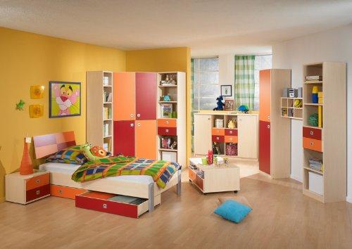 12 teiliges Jugendzimmer Ahorn - orange Kinderzimmer Jugendbett Sideboard