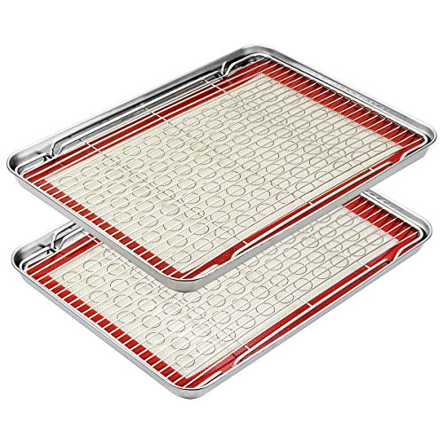 Footek Baking Sheets, Rack Set & Silicone Baking Mats, Stainless Steel Baking Pans Rectangle 16' L×12' W×1' H, Non Toxic & Healthy, Mirror Polish & Easy Clean, Pack of 6 (2 Sheets + 2 Racks + 2 Mats)