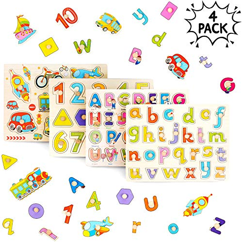 THE TWIDDLERS 4 PCS Puzzle in Legno per Bebè - Puzzle Veicoli Lettere Alfabeto ABC, Numeri En Forme per Apprendimento nella Prima Infanzia - Gioco Edu