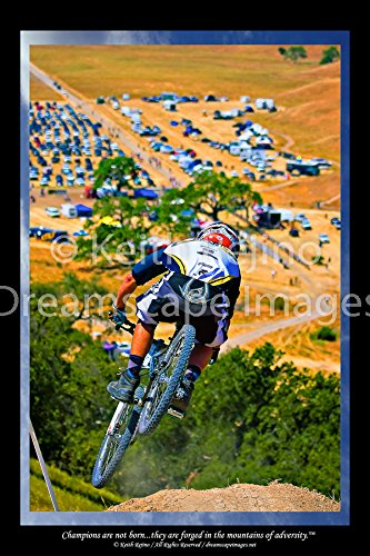 Dreamscape Images Champions Motivational Poster Downhill Mountain Bike Rider Inspirational Art Photography, Blue Sky Border, 24x36 Sports Poster