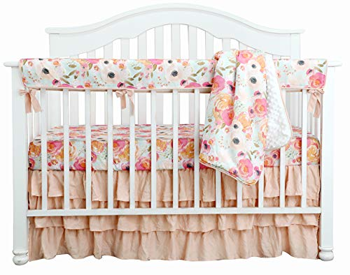 Boho Coral Floral Ruffle Skirt Baby Minky Blanket Peach Floral Nursery Crib Skirt Set Baby Girl Crib Bedding Feather Blanket (Poppy Watercolor Floral, 4pc Set)