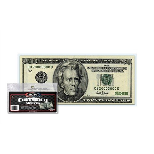 "BCW US Currency Clear Sleeves for Regular Bills, 2-MIL Thickness, 6-1/4"" x 2-5/8"" (100-Count)"