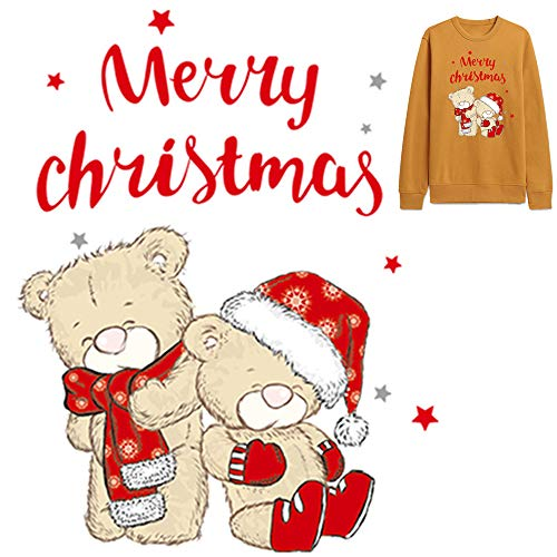 Christmas Iron on Patch Bears Heat Transfer Sticker Xmas Hat Snowflake Pattern Scarf Merry Christmas Sticker Decal Vinyl Applique for Jeans T- Shirts Jackets Backpacks Tote Bags Pillows Decoration