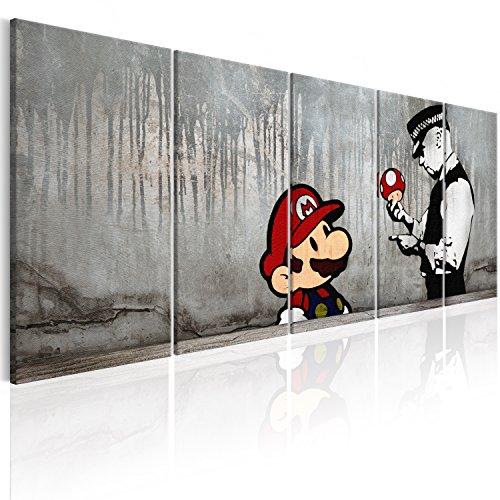 murando - Bilder Banksy Mario 200x80 cm Vlies Leinwandbild 5 TLG Kunstdruck modern Wandbilder XXL Wanddekoration Design Wand Bild - Street Art Urban Mural i-C-0109-b-m