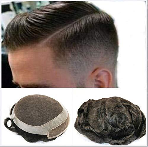 100% real de los hombres de pelo Para Ligero Medio Natural pelucas transpirable super fino cordón suizo Densidad 8