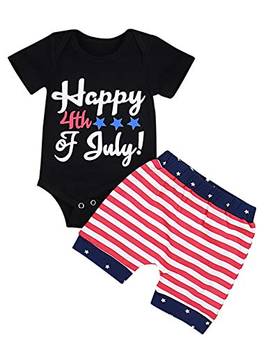 Happy 4th of July Baby Boy Girl Outfits Cute Bodysuit Romper+American Flag Stars Stripes Shorts Pant...