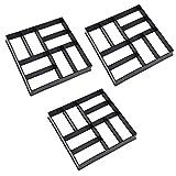 Wellz セメント型枠 ガーデニング 型枠 セメント レンガ 格子 金型 成形 舗道 モールド 装飾 DIY 3個セット (Cタイプ)