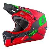 O'NEAL | Mountainbike-Helm Fullface | MTB DH Downhill FR Freeride | ABS-Schale, Magnetverschluss, übertrifft Sicherheitsnorm EN1078 | SONUS Helmet DEFT | Erwachsene | Grau Rot Grün | Größe M