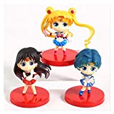 XIAOGING 3 unids Sailor Moon Action Figure Sailor Mercury Mars Princess Toys QPHETET PVC Modelo de c...