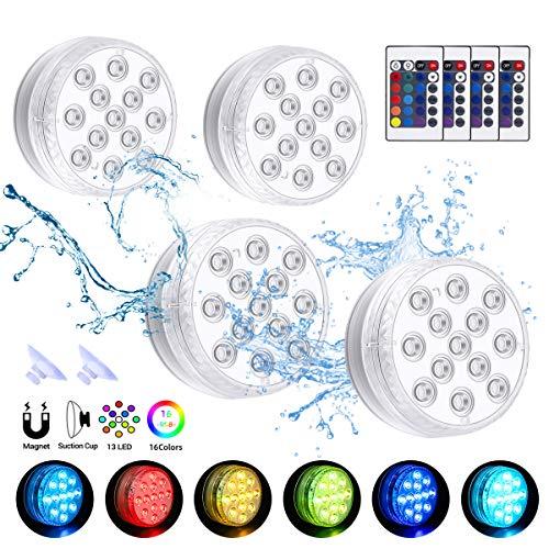 Poolbeleuchtung Unterwasser LED Licht Wasserdichte mit Fernbedienung, Timer, 13 LEDs für Party Halloween Weihnachten Schwimmbad Teich Hochzeit (4er)