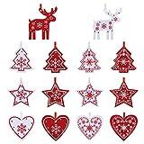 Naler 42 Adorno Fieltro Decorativo Navidad Fieltro Manualidades Rojo y Blanco para Decoración de Árboles de Navidad