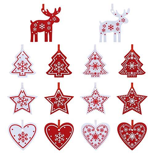 Naler 42 Pezzi di Decorazioni Natalizi in Feltro Ornamenti Appesi di Albero di Natale, Stella, Renna, Cuore Decorazione Natalizia per Casa, Bianco e Rosso