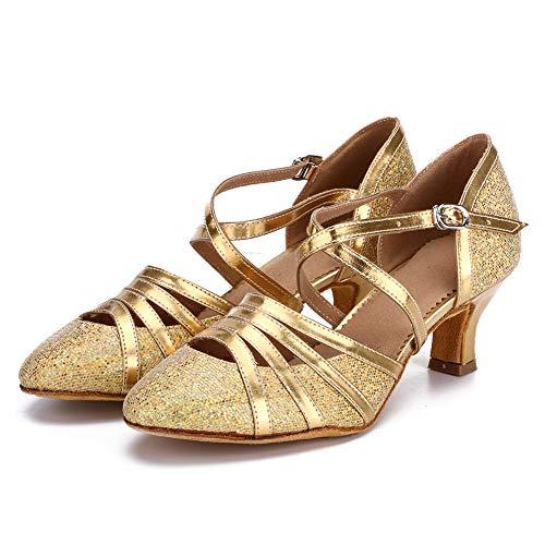 HROYL Damen Tanzschuhe/Latin Dance Schuhe Glattleder Ballsaal Modell-D5-512 Gold 39 EU - 3