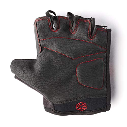 DOMYOS 100 Weight Training Gloves, Easy Dressing, Breathability, Anti Slip Protection, Perfect for Fitness, Bodybuilding, Powerlifting, Strength Training, Weightlifting, Cycling & Exercise - Black/Red