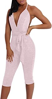 039be01562aa Sexy Jumpsuits for Women Clubwear - Sequin V-Neck Jumpsuit Halter Hollow  Out Shiny Pants