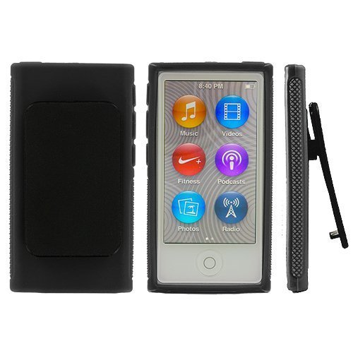 ANiceSeller(TM) Color TPU Rubber Skin Case Cover with Belt Clip for iPod Nano 7th Gen 7 7G (Black)