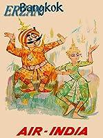 ERZANメタルポスター壁画ショップ看板ショップ看板バンコクタイタイ航空-インドアジアアジア旅行広告インテリア 看板20x30cm