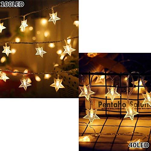 Twinkle Star 100 LED 49FT Fairy Star String Lights Warm White Waterproof