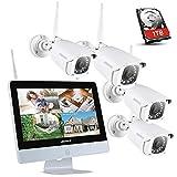 ANNKE 8CH 1080P WiFi NVR Kit de Surveillance Sans fil avec HDD 1TB l'écran LCD 12'' et 4 Caméras...