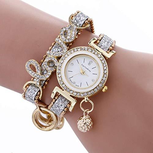 guangxichuangshengxinfu fabelhafte Mode Casual Vintage Diamant Anhänger Uhren Damen Liebe Stil Kette Armband Armbanduhr, Herren, WT