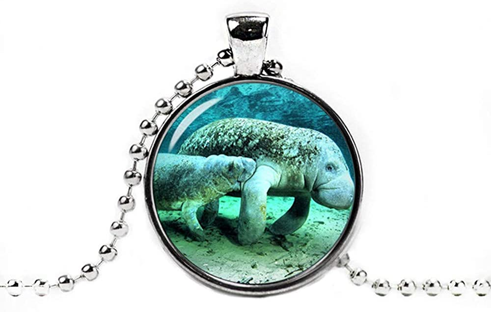 Manatee Glass Pendant, Manatee Necklace ,Manatee Jewelry,Dome Glass Jewelry, Pure Hand-Made