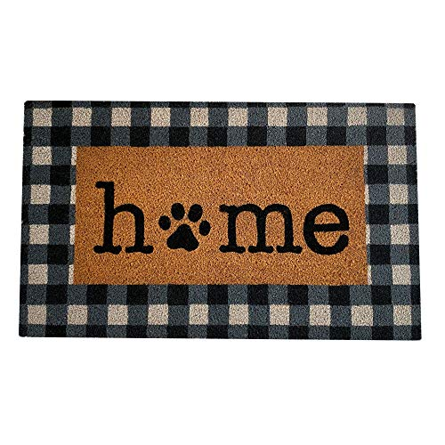 Elrene Home Fashions Farmhouse Living Pet Paw Print Home Buffalo Check Outdoor Coir Doormat for Entryway/Front Door/Porch, 18'x30' Mat
