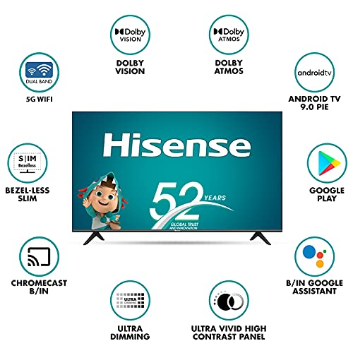 Hisense 146 cm (58 inches) 4K Ultra HD Smart Certified Android LED TV 58A71F (Black) (2020 Model) | With Dolby Vision and ATMOS 2
