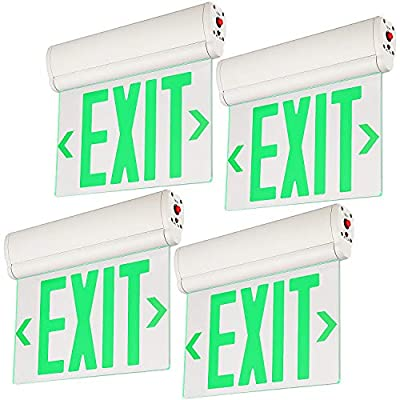 LEONLITE LED Edge Lit Green Exit Sign, with Rotating Clear Panel, Ceiling/Left End/Wall Mount, Single Acrylic Face, UL Listed, AC120V/277V, Battery Backup, for Hotel, Restaurant, Hospitals, Pack of 4