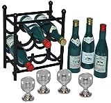 Unbekannt 11 TLG. Set: Miniaturen Weinregal aus Metall + 6 Flaschen Wein + 4 Weingläser -...