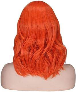 FHKGCD Perruque Courte Ondulée Orange Frange/Frange Femmes Femelle Mixte Rose Résistant À La Chaleur Perruques De Cheveux ...