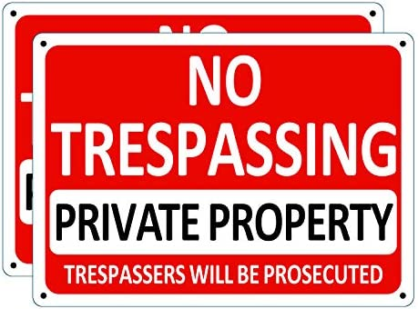 i CowFun 2 Pack Private Property Sign No Trespassing Aluminum Warning Sign 10 x 7 Aluminum Security product image