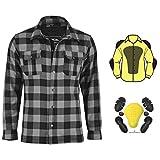 Vaster - Camisa de moto para motocicleta fabricada con Kevlar reforzada CE blindada para hombres y niños con protecciones extraíbles (gris, 5XL)