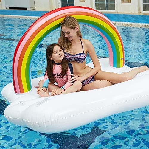 Zwirelz - Colchón hinchable para adulto, piscina, hamaca hinchable, silla flotante, piscina, nubada, arco cielo, 195 x 145 x 115 cm