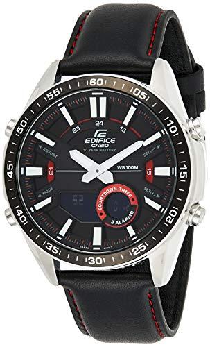 Casio EDIFICE Reloj en caja sólida de acero inoxidable, 10 BAR, Negro, para Hombre, con Correa de Cuero, EFV-C100L-1AVEF