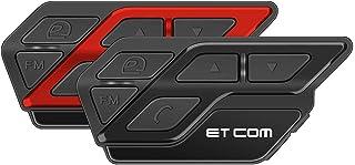 LEXIN 2機 ET-COM インカム バイクインカム Bluetooth5.0 防水 バイク通信機 DSP/CVCノイズキャンセル フェイスプレート付き FMラジオ 音楽再生 最大15時間連続 2種類マイク インターコム