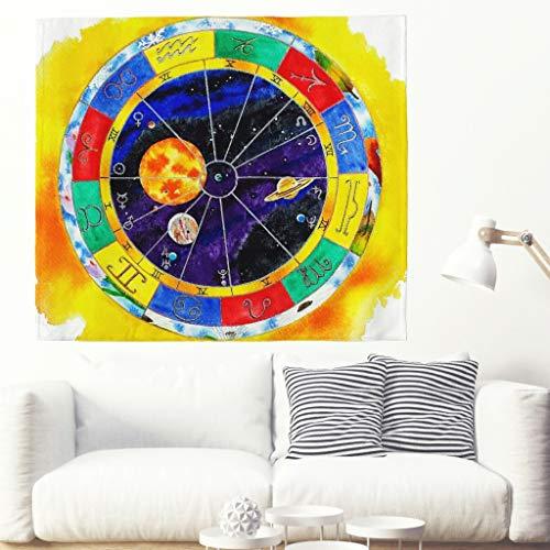 Aquarel Mystiek zonsysteem sterrenbeeld constellatie schilderij wandtapijt kleurrijke ster constellations planeten Galaxie grafisch wandbehang wandkleed tapijt mandala strandworp wandkleed 230x150cm wit