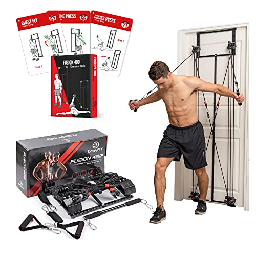 BRAYFIT Home Gym Equipment, Full Body Workout Door Gym | Including Squat Bar, Padded Handles, Heavy Resistance Bands, Wrist/Ankle Straps, and Innovative Training Exercise Deck Guide - Total Gym