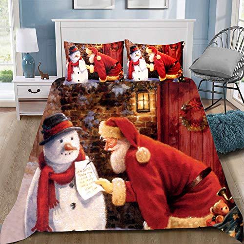 Juego de ropa de cama de Navidad tamaño King con dibujos animados de Papá Noel, muñeco de nieve, reversible, ligera, colcha decorativa para dormitorio para vacaciones de Navidad