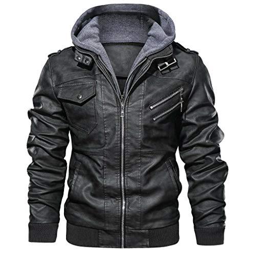 MMHA Denzell Outwear Anarchist Leather Jacket Hooded Motorcycle Coat Biker Style Men (XL, Gray)